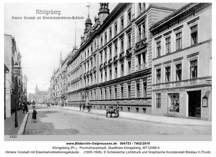 Königsberg, Hintere Vorstadt mit Eisenbahndirektionsgebäude