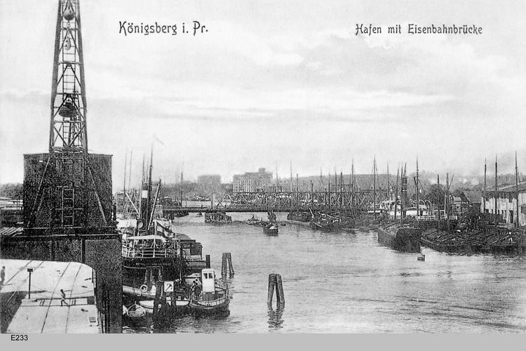 Königsberg, Hafen mit Eisenbahnbrücke