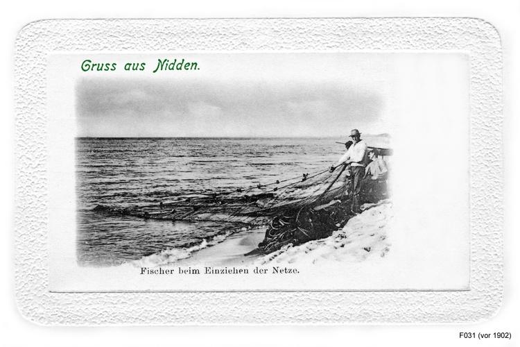 Nidden, Fischer beim Netze Einziehen
