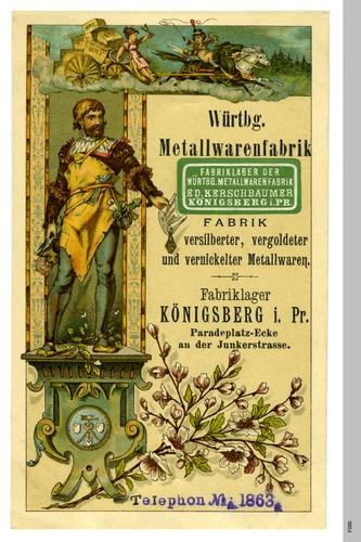 Königsberg, Werbetafel der Würtembergischen Metallwarenfabrik