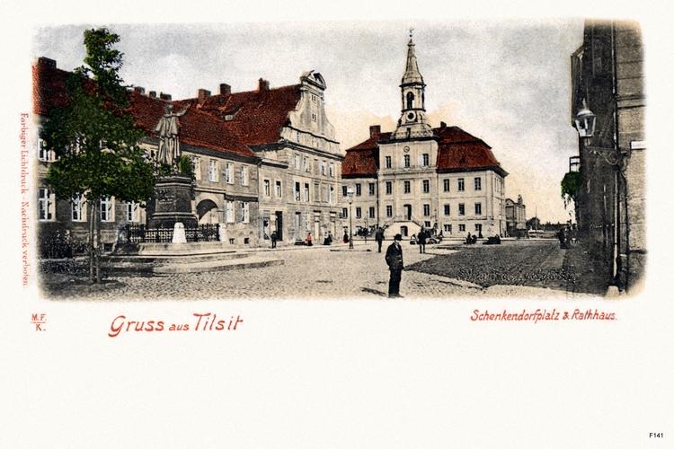 Tilsit, Schenkendorfplatz und Rathaus