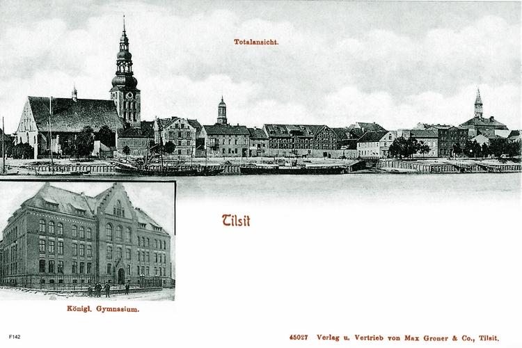 Tilsit, Ortsansicht und Königliches Gymnasium