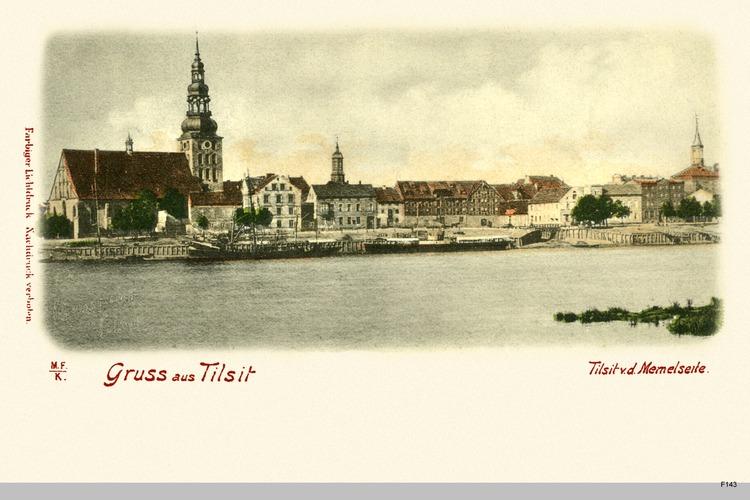 Tilsit, Ortsansicht von der Memelseite koloriert