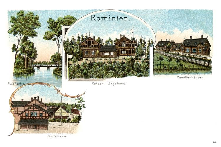 Jagdhaus Rominten, Kaiserliches Jagdschloss, Dorfstraße, Familienhäuser, Flusspartie