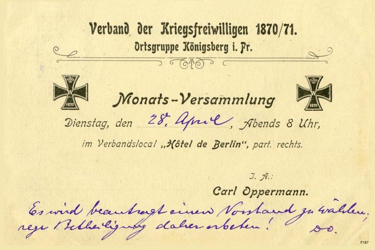 Königsberg, Verband der Kriegsfreiwilligen 1870/71