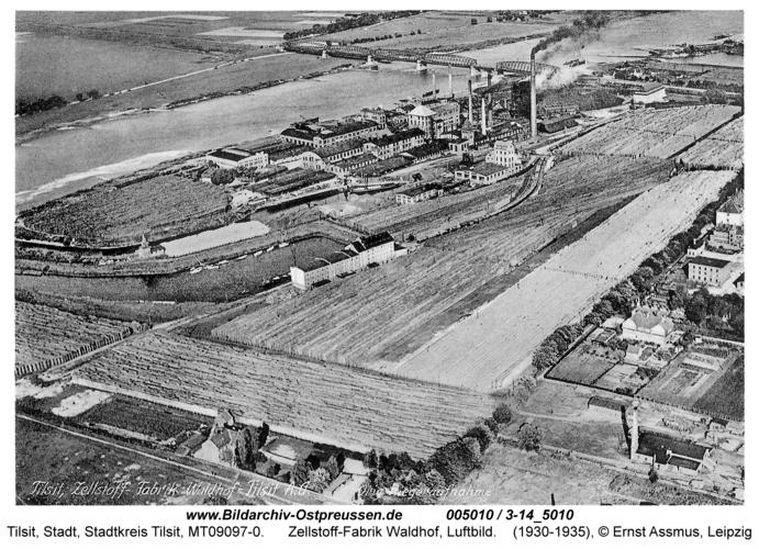 Tilsit, Zellstoff-Fabrik Waldhof, Luftbild