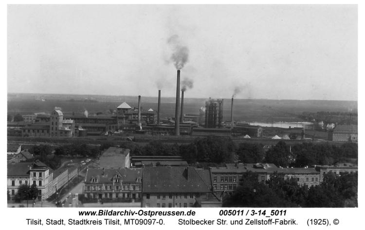 Tilsit, Stolbecker Str. und Zellstoff-Fabrik