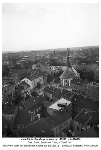 Tilsit, Blick vom Turm der Deutschen Kirche auf die Litauische Kirche