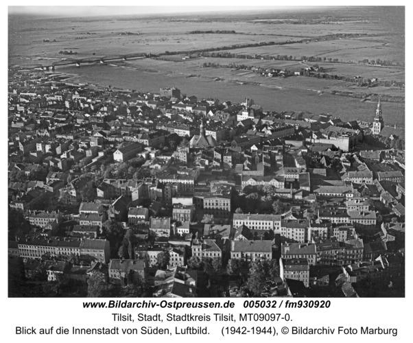Tilsit, Blick auf die Innenstadt von Süden, Luftbild