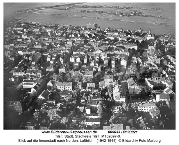 Tilsit, Blick auf die Innenstadt nach Norden, Luftbild