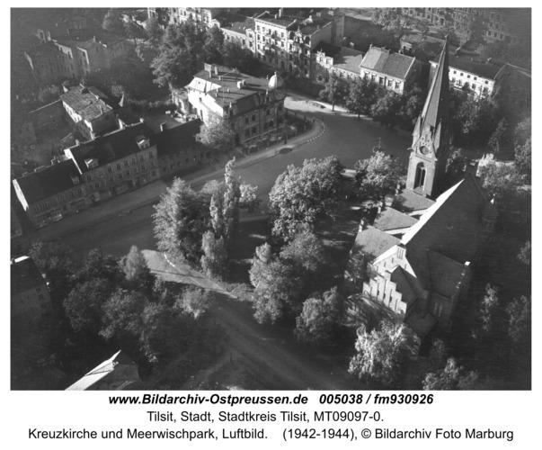 Tilsit, Kreuzkirche und Meerwischpark, Luftbild