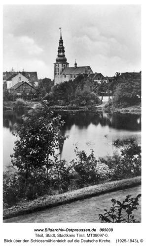 Tilsit, Blick über den Schlossmühlenteich auf die Deutsche Kirche