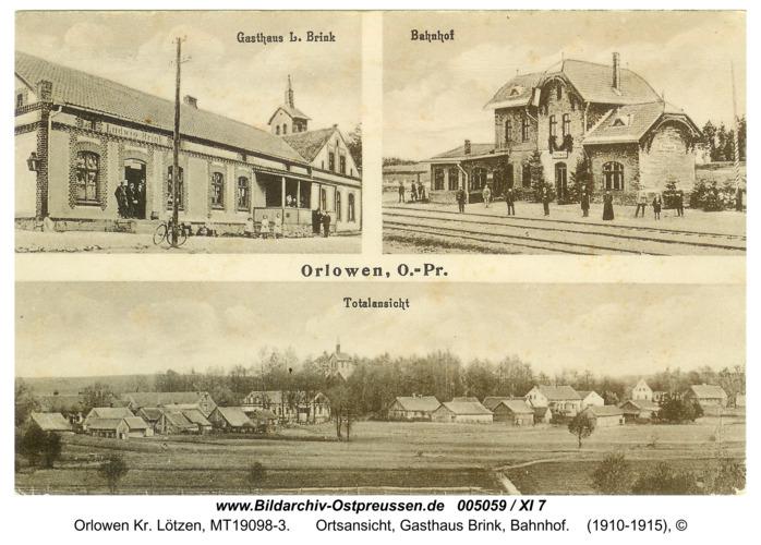Adlersdorf, Ansichtskarte, Gasthaus Brink, Bahnhof