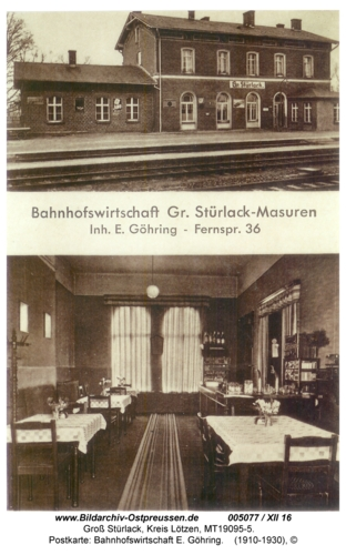 Groß Stürlack, Postkarte: Bahnhofswirtschaft E. Göhring