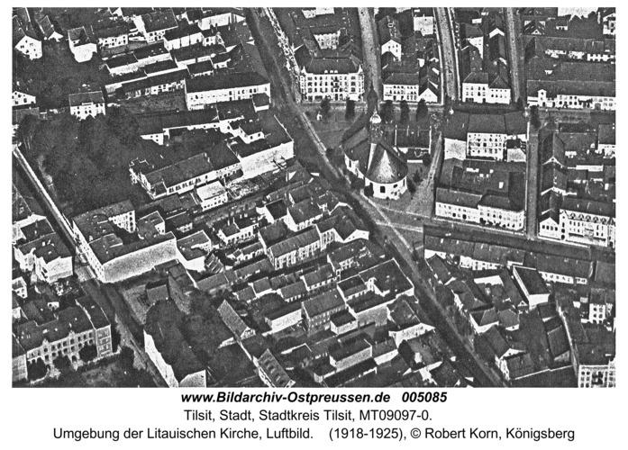 Tilsit, Umgebung der Litauischen Kirche, Luftbild