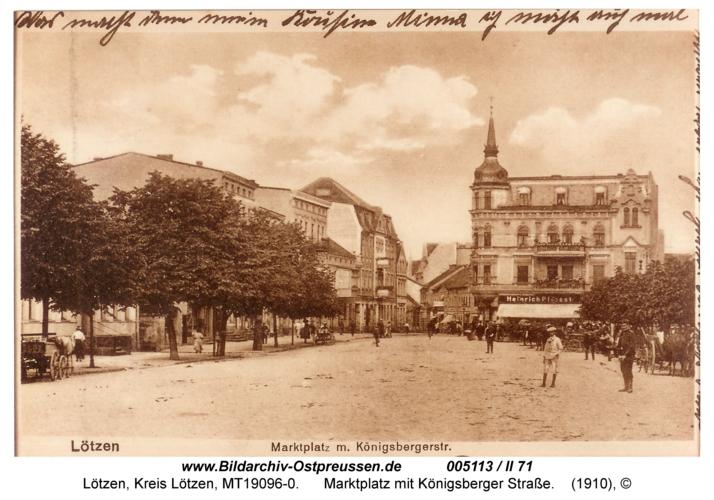 Lötzen, Marktplatz mit Königsberger Straße
