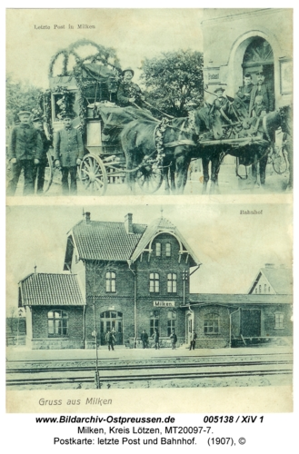 Milken, Postkarte: letzte Post und Bahnhof