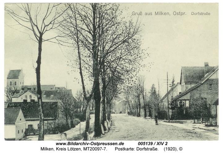 Milken, Postkarte: Dorfstraße