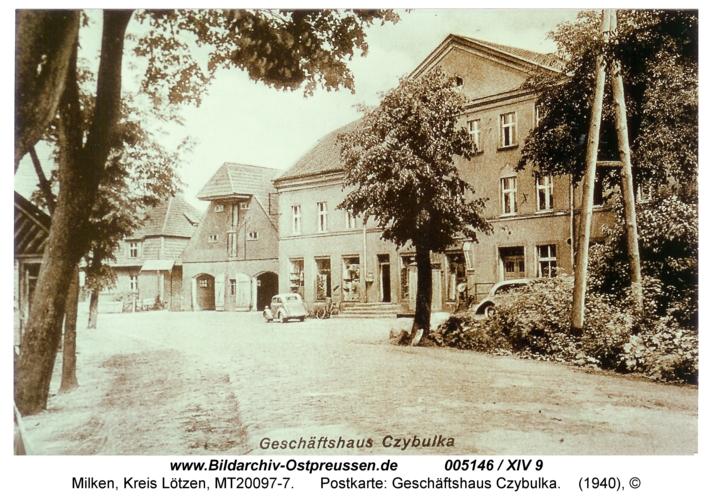 Milken, Postkarte: Geschäftshaus Czybulka