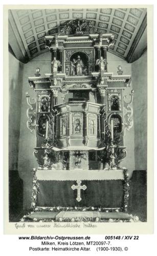 Milken, Postkarte: Heimatkirche Altar