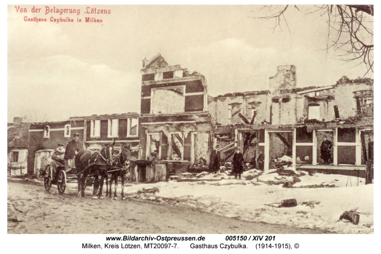 Milken, Geschäftshaus Czybulka zerstört