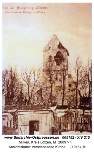 Milken, Ansichtskarte: zerschossene Kirche
