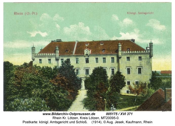 Rhein, Postkarte: königl. Amtsgericht und Schloß