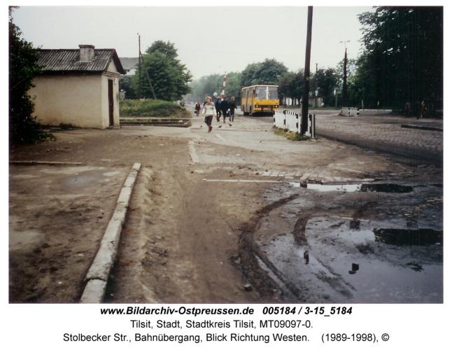 Tilsit, Stolbecker Str., Bahnübergang, Blick Richtung Westen