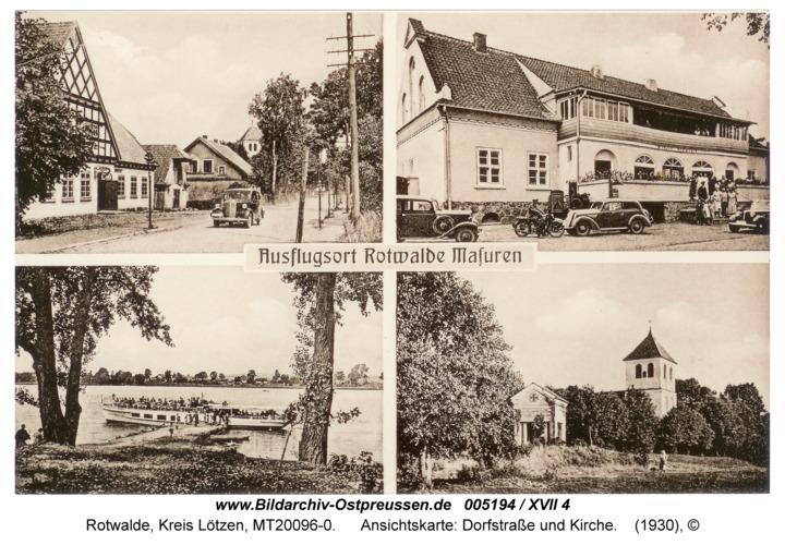 Rotwalde, Ansichtskarte: Dorfstraße und Kirche