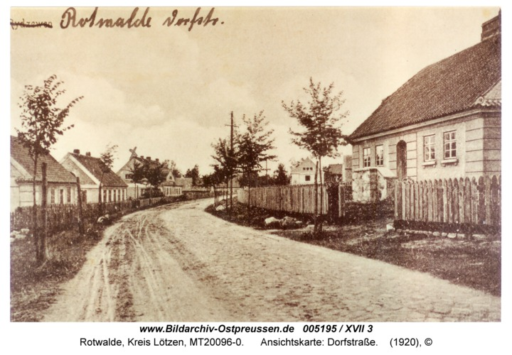 Rotwalde, Ansichtskarte: Dorfstraße