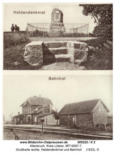 Allenbruch, Grußkarte rechts: Heldendenkmal und Bahnhof