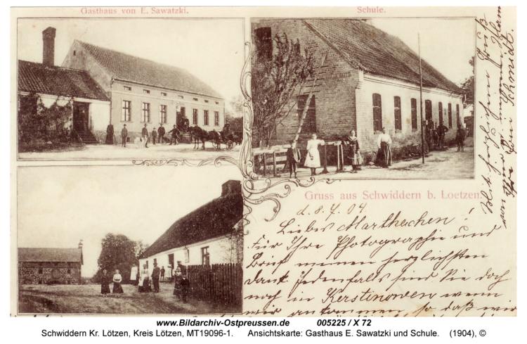 Schwiddern, Ansichtskarte: Gasthaus E. Sawatzki und Schule