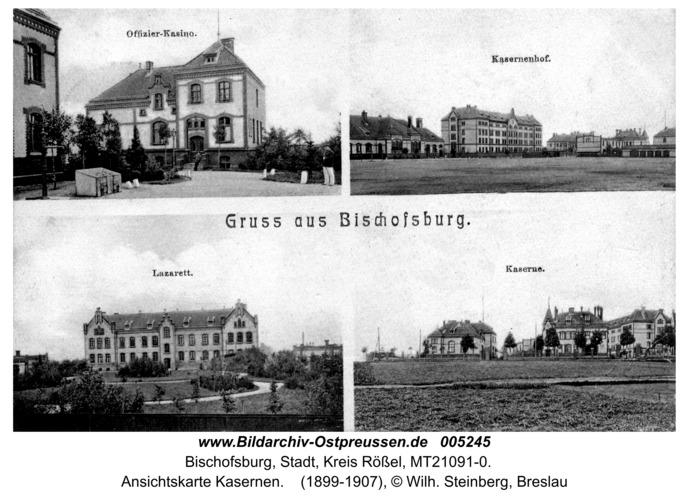 Bischofsburg, Ansichtskarte Kasernen
