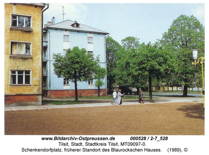 Tilsit, Schenkendorfplatz, früherer Standort des Blaurockschen Hauses