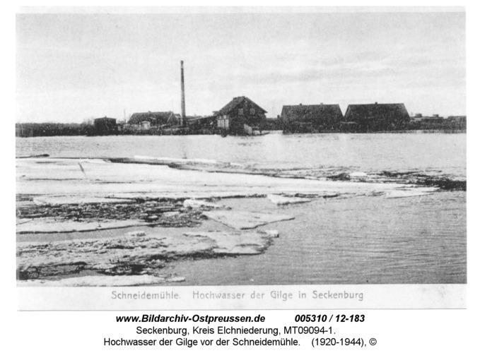 Seckenburg, Hochwasser der Gilge vor der Schneidemühle