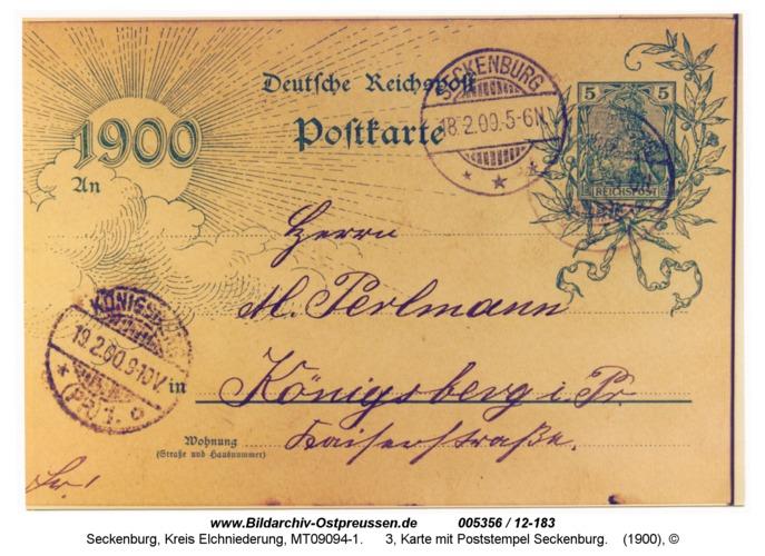Seckenburg, 3, Karte mit Poststempel Seckenburg