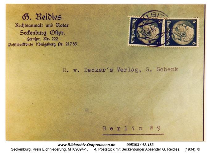 Seckenburg, 4, Poststück mit Seckenburger Absender G. Reidies