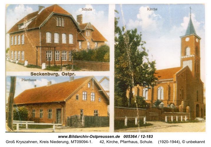 Seckenburg, 42, KIrche, Pfarrhaus, Schule