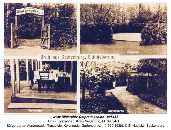 Seckenburg, Bürgergarten Abramowski, Tanzdiele, Kolonnade, Gartenpartie