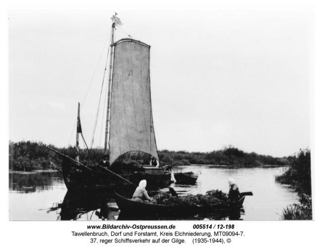 Tawellenbruch, 37, reger Schiffsverkehr auf der Gilge