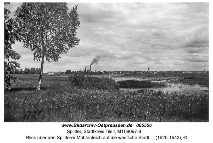 Tilsit-Splitter, Blick über den Splitterer Mühlenteich auf die westliche Stadt