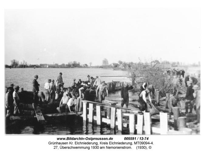 Grünhausen, 27, Überschwemmung 1930 am Nemonienstrom