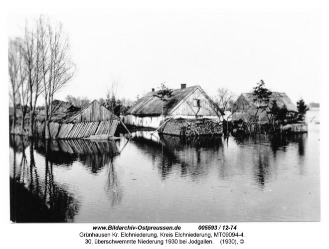 Grünhausen, 30, überschwemmte Niederung 1930 bei Jodgallen