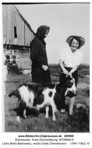Grünhausen, links Berta Barkowsky, rechts Grete Zimmermann