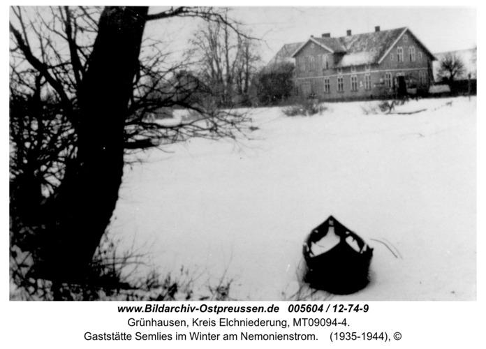 Grünhausen, Gaststätte Semlies im Winter am Nemonienstrom