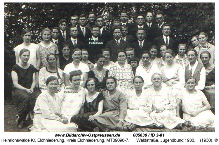 Heinrichswalde, Waldstraße, Jugendbund 1930
