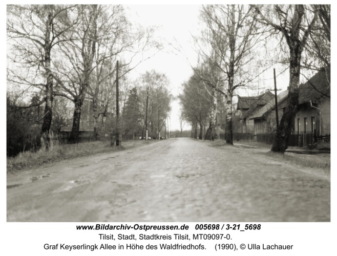Tilsit, Graf Keyserlingk Allee in Höhe des Waldfriedhofs