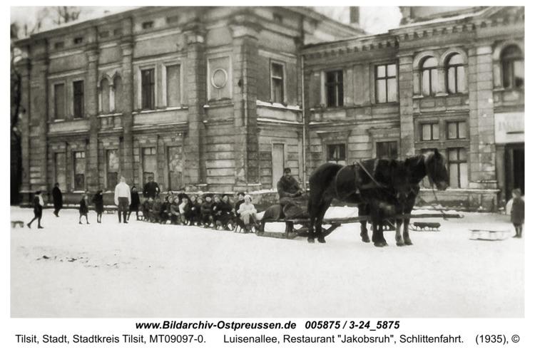 """Tilsit, Luisenallee, Restaurant """"Jakobsruh"""", Schlittenfahrt"""