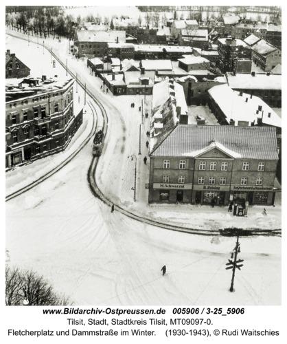 Tilsit, Fletcherplatz und Dammstraße im Winter