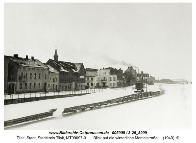 Tilsit, Blick auf die winterliche Memelstraße